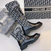 Dior Embroidered long small pocket side zipper ankle boots D classic old flower boots Martin boots