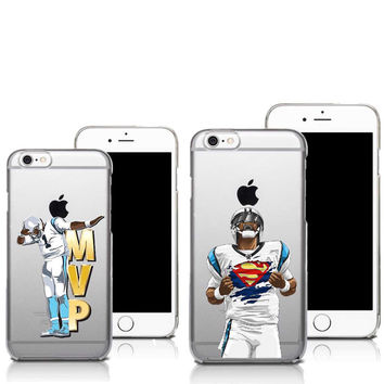 Carolina Panthers Cam Newton Superman Dab Dance Football Player Clear Cove Case For iPhone SE 4 4S 5 5S 5C 6 6S 6 Plus 7 7Plus