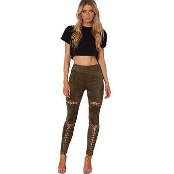 Sexy Ripped Leggings Women Destroy Pants Long String Through Buckle Hole Tight Skinny Pants for Women