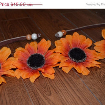 SALE // HOLIDAY SALE Sunflower Flower Crown Floral Headpiece on Leather strap with Beads Flower Halo Bohemian Headpiece Orange Flower Crown