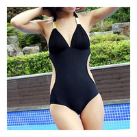 SPA Swimwear Swimsuit Large Bikini Sexy One-piece Monokini Women  black  M