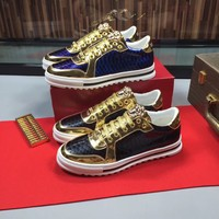 VERSACE AMAZING COOL logo Men's 2020 New Yellow Black Leather Embroidery Low Top Boots Casual Sneaker   Running sport Shoes flat BEST Quality