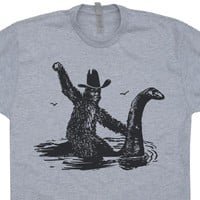 Bigfoot Riding The Loch Ness Monster T Shirt Cool Bigfoot Shirt Sasquatch Tee