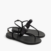 T-strap bow sandals in suede