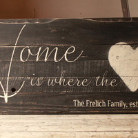 Family est. sign, Home is where the heart is, Family Established sign, reclaimed wood sign, Personalized family sign, rustic wood sign