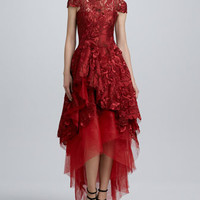 High-Low Floral-Embroidery Ball Gown