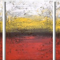 "ARTFINDER: triptych 3 panel wall art impasto textured ""Rainbow Flats"" 3 panel canvas wall abstract canvas pop abstraction 48 x 20 "" other sizes available by Stuart Wright - triptych abstract painting, 3 piece canvas art ..."