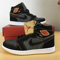 Levis x Air Jordan 1 Black/Gray Sport Sneaker