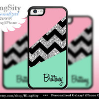 Pink Mint Chevron Iphone 5C case iPhone 5s iPhone 4 case Ipod 4 5 case Silver Sparkle Name Personalized NOT ACTUAL GLITTER Zig Zag