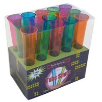 Party Essentials Hard Plastic 1-1/2-Ounce Tube Shots, Assorted Neon, 15 Count