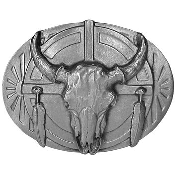 Sports Accessories - Buffalo Skull and Feathers Antiqued Belt Buckle