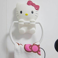 Cartoon Hello Kitty Design Suction-cup Towel Ring by Decorating