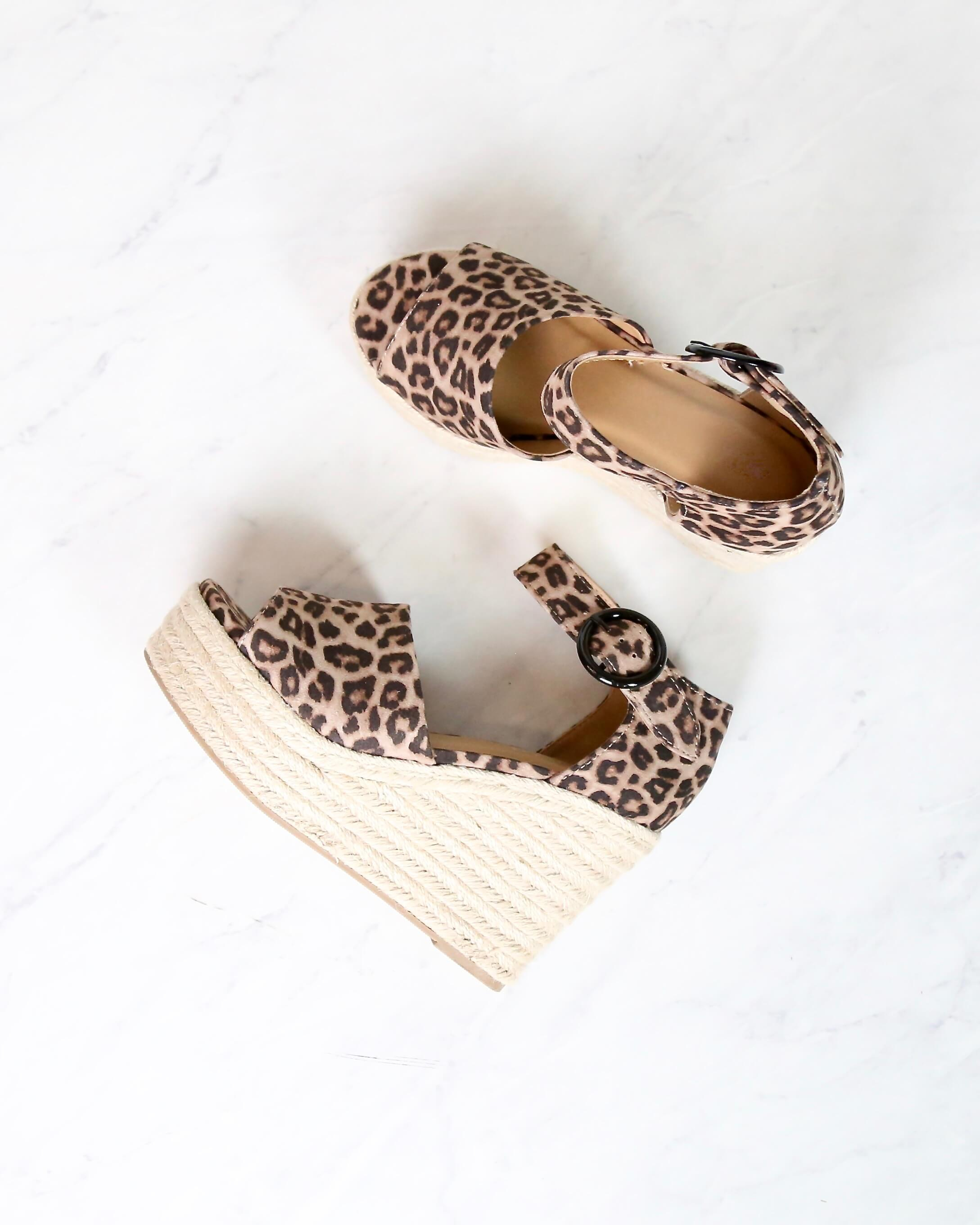 Image of Sassy Espadrille Wedges in Leopard