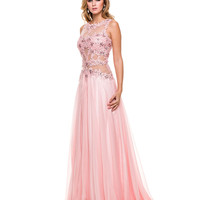 Pink Floor Length Cutout Chiffon Gown 2015 Prom Dresses