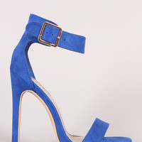 Suede Open Toe Ankle Strap Stiletto Heel