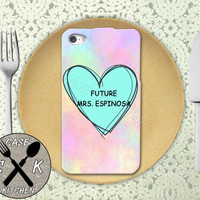 Future Mrs. Espinosa Pastel Pink Tumblr Candy Heart Cute Custom Rubber Tough Phone Case For The iPhone 4 and 4s and iPhone 5 and 5s and 5c