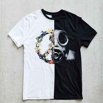 Peace and War Pieced Tee- Black & White