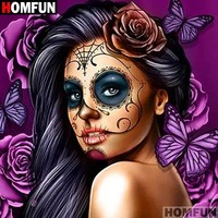"Skull Skulls Halloween Fall HOMFUN Full Square/Round Drill 5D DIY Diamond Painting "" girl"" 3D Embroidery Cross Stitch Mosaic Home Decor A07414 Calavera"