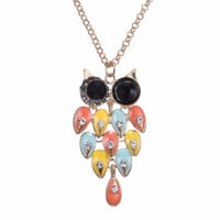 Crystal Colorful Owl Pendant Necklace