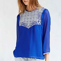 Little White Lies Embroidered Top- Blue