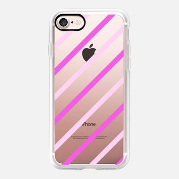 Lilac Duo Diagonal Stripes (transparent) iPhone 7 Case by Lisa Argyropoulos | Casetify