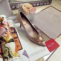 Roger Vivier RV  Women Casual Shoes Boots fashionable casual leather Women Heels Sandal Shoes