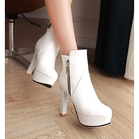 Zipper High Heels Ankle Boots Chunky Heel 3079