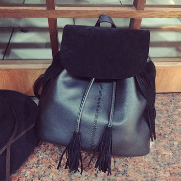 College Hot Deal On Sale Back To School Casual Comfort Korean Stylish Tassels Fashion Matte Backpack [6580873671]