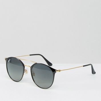Ray-Ban Round Sunglasses with Double Brow Bar at asos.com