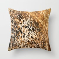 Rustic Country Western Texas Long Horn Cow Animal Hide Prints Throw Pillow by KateLCardsNMore