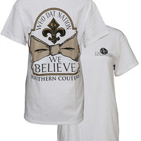 Southern Couture New Orleans Saints Classic Bow Who Dat Believe Girlie Bright T Shirt