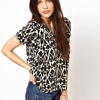 American Vintage Round Neck Top in Printed Silk at asos.com