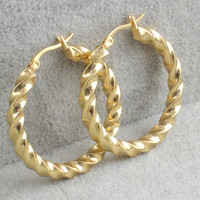 Diamond Cut Gold Hoop Earrings