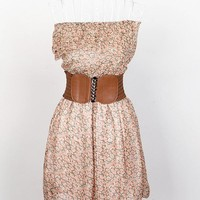 Light Brown Strapless Floral Dress with Belt