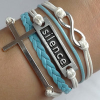 The unlimited ancient silver - Cross-silence-woven leather bracelet