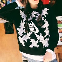 """Nike"" Women Casual Fashion Letter Lace Flower Embroidery Loose Long Sleeve Sweater Tops"