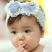 """1 Baby Girls White Stripe Lace Bowknot Stretch Hair Headbands 19x5cm(7 4/8""""x2"""") (Color: White & Blue) = 1705676804"""