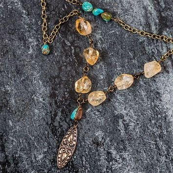 Natural Turquoise Citrine Bronze Necklace