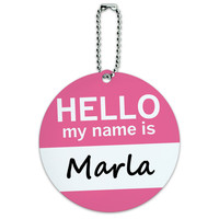 Marla Hello My Name Is Round ID Card Luggage Tag
