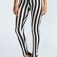 Louisa Monochrome Basic Striped Leggings