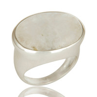 Natural Rainbow Moonstone Gemstone Sterling Silver Dome Ring