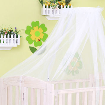 2016 New Round Anti-mosquito Net White Crib Bed Curtain Lovely Baby Hung Bed Canopy Netting