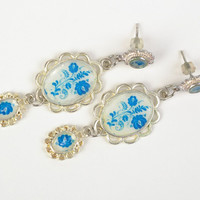 Handmade long vintage earrings with jewelry epoxy resin in blue color palette