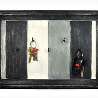 Shabby Key Hanger in Grey, Black and White - Upcycled Cabinet Door - Distressed Key Rack