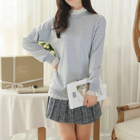 Grey Sweater with Lace Trim