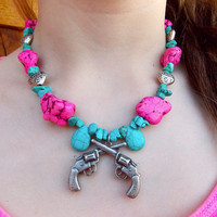 Turquoise and Hot Pink Chunky Necklace with a Pistol Pendant and Heart Beads and Heart Clasp