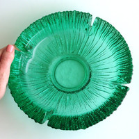 Vintage Glass Ashtray, Large Emerald Green Textured Glass Ashtray, Mid Century Home Decor, Heavy Glass Ash Tray, Smoking Accessories,