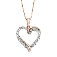1/10 Carat T.W. Diamond 14k Rose Gold Vermeil Heart Pendant Necklace (White)