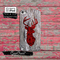 Deer Head Roses Antlers Hunting Flowers Wood Grain Cool Case iPod Touch 4th Generation or iPod Touch 5th Generation Rubber or Plastic Case