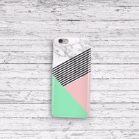 Marble Mint Champagne Pink Stripe iPhone 5 5c 6 6plus and Samsung Galaxy S5 Case
